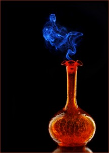 """Genie Bottle"" Glassware photography using the methods and DIY studio set up detailed in this article. Composite created with  incense smoke photo shot separately."