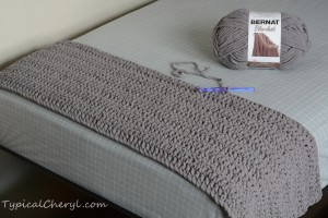 Crochet Bernat Blanket - one skein finished on a twin size bed
